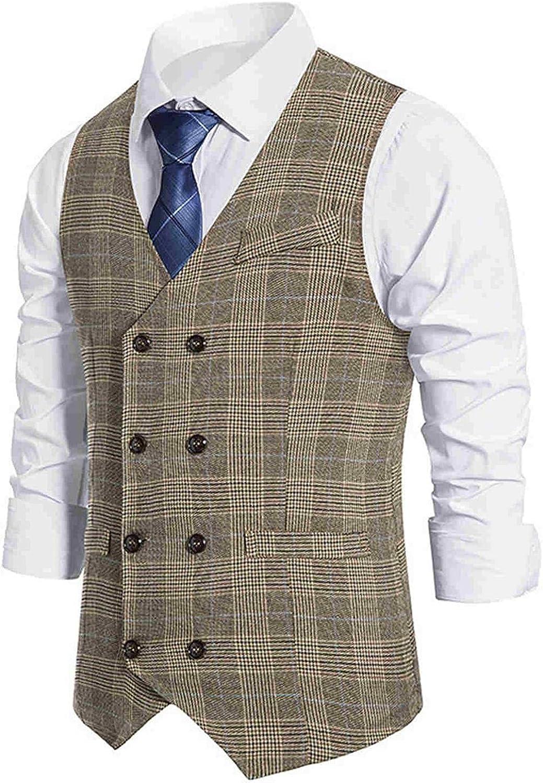 WoCoo Mens Business Vests Double Breasted V-Neck Dress Waistcoat Tops Lightweight Slim Fit Formal Suit Vest