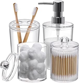 Tbestmax Plastic Clear Bathroom Accessories Set Complete 4 Pcs - Soap Dispenser, 2 Qtip Holder Jars and Toothbrush Holder,...