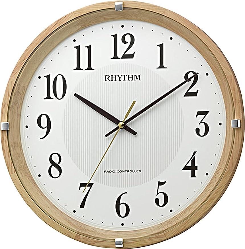 意義燃料特別にリズム時計 掛け時計 電波 アナログ フィットウェーブライキー 連続秒針 木 茶 (薄茶) RHYTHM 8MYA32SR07