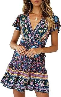 Abravo Mujer Vestido Bohemio Corto Florales Nacional Verano