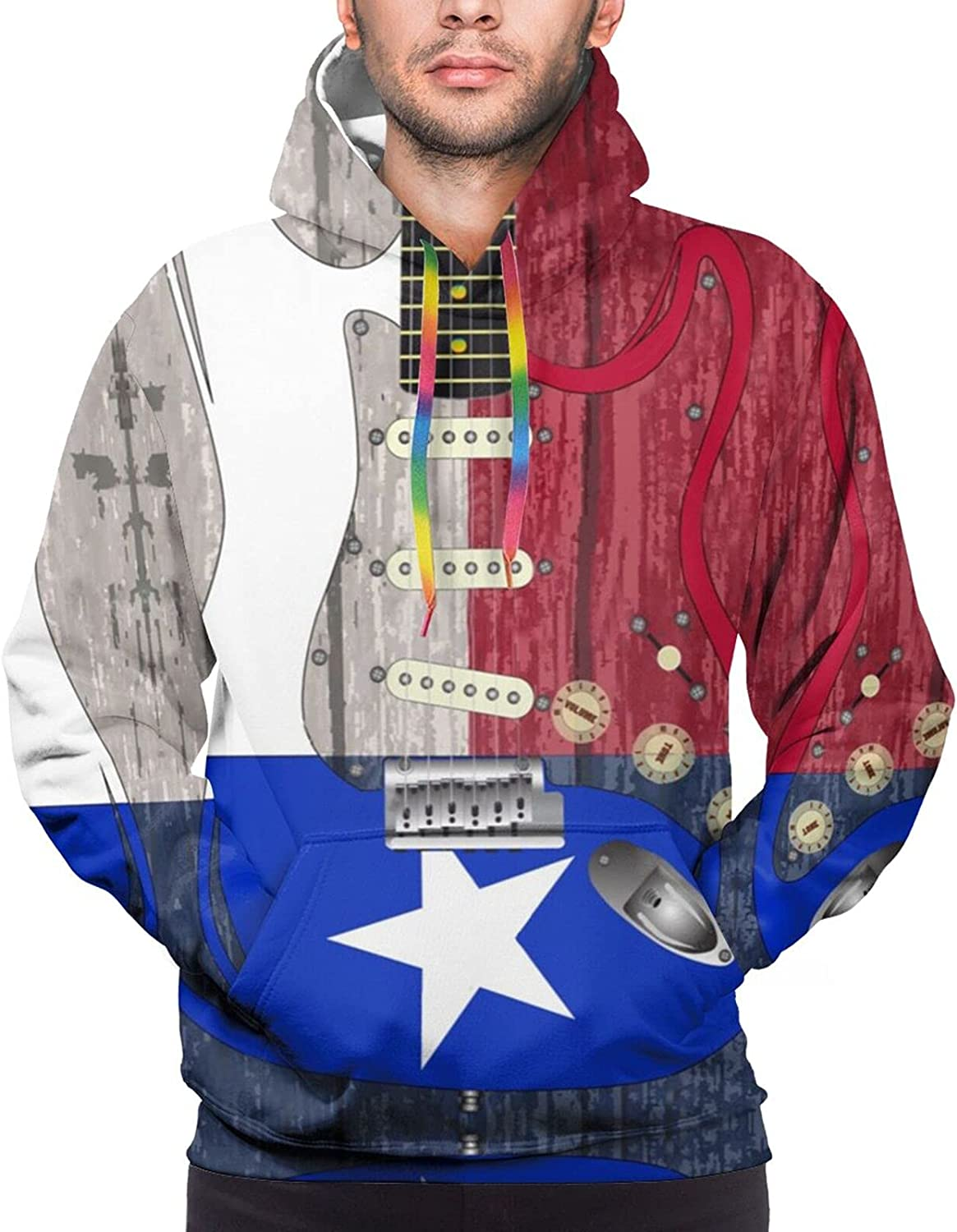 Hoodie For Men Women Unisex Texas Flag With Guitar Pullover Hooded Sports Sweatshirt