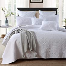 feelyou 100% Cotton Bedspread Coverlet Set 3 Pieces Queen Size Quilt Set with Pillow Shams Soft Bedding Comferter Set White