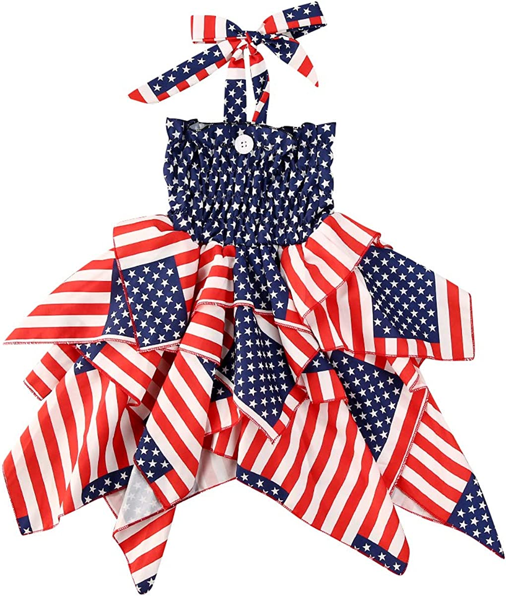 Sundro Cute 4th of July Outfits Hal Striped Girl 2021new shipping Omaha Mall free Sleeveless Baby
