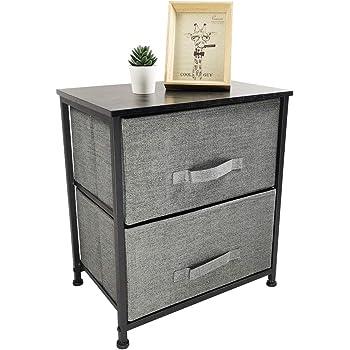 KKTONER Mesita de Noche para el Dormitorio Caja de Almacenamiento con 2 cajones de Tela aparador Práctico Mueble Cajonera Ahorra Espacio Color Gris