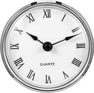 Hicarer 3-1/8 Inch (80 mm) Quartz Clock Fit-up/Insert with Roman Numeral, Quartz Movement (Silver Rim)