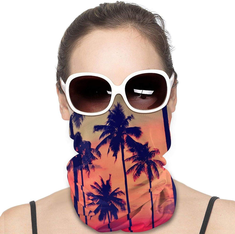 Beach Palm Tree Neck Gaiter Windproof Face Cover Balaclava Outdoors Magic Scarf Headband for Men Women Motorcycling Fishing Running Climbing