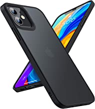 TORRAS Shockproof Compatible for iPhone 12 Case/Compatible for iPhone 12 Pro Case, [Military Grade Drop Tested] Translucent Matte Hard PC Back with Soft Silicone Edge Slim Protective Guardian, Black
