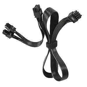 PSU CPU Male to Dual EPS 8 (4+4) Pin Male CPU Power Cable, only for EVGA G+ G2 G3 G5 GA GM B3 B5 T2 P2 Modular Power Supply (70cm+15cm)