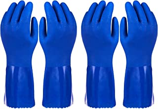 Pack of 2 Pairs Household Gloves - Cotton Lined Dish Gloves - Dishwashing Gloves - Rubber Gloves - Kitchen Gloves, Blue, Large