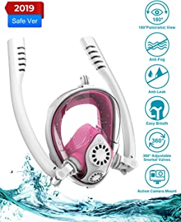 Aven Snorkel Mask Full Face K2 Free Breathing Backstroke Swimming [Double Tubes] 180° Panoramic View Easy Breath Anti-Fog ...