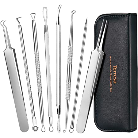 Blackhead Remover Pimple Popper Tool Kit, Terresa 8pcs Blackhead Tweezer Pimple Extractor Acne Removal Tools with Leather Bag, Comedone Extractor for Nose Face Blemish Whitehead Popping Zit Removing