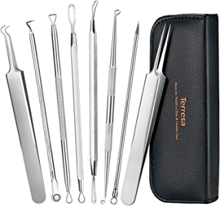 Blackhead Remover Pimple Popper Tool Kit, Terresa 8pcs Blackhead Tweezer Pimple Extractor..