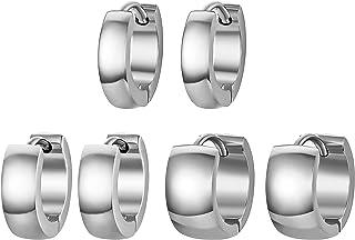 HZMAN 3 Pairs Stainless Steel Hoop Earrings Men Women Huggie Lightweight Earrings Piercing Jewellery