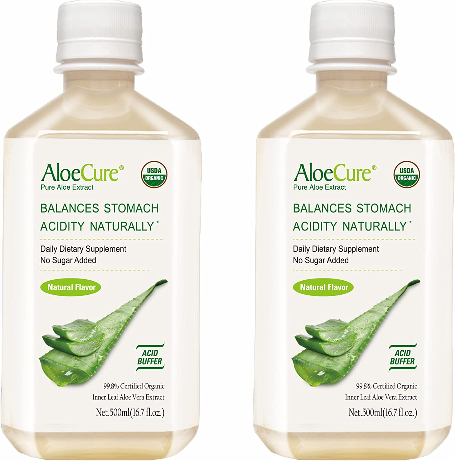 AloeCure Pure Aloe Vera Juice USDA Certified Organic, Natural Flavor Acid Buffer, 2x500ml Bottle, Processed Within 12 Hours of Harvest to Maximize Nutrients, No Charcoal Filtering-Inner Leaf : Health & Household