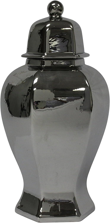Sagebrook Home 12052-04 Decorative Ceramic 6-Sided Temple Jar, Silver Ceramic, 8.5 x 8.5 x 19 Inches