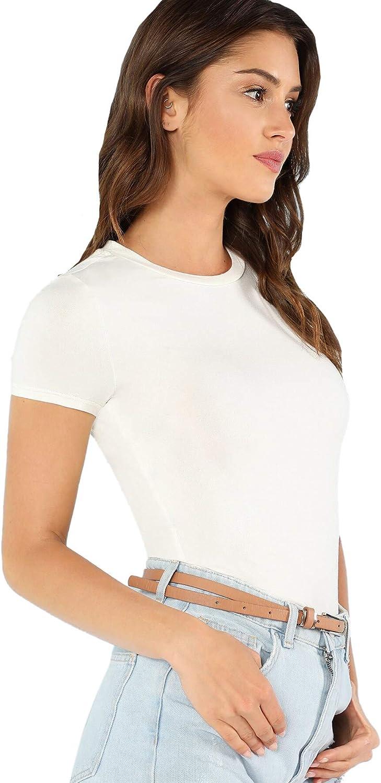 SheIn Women's Solid Basic Tee Round Neck Short Sleeve Slim Fit T-Shirt Tops