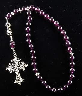 Handmade Eastern Orthodox Rosary Greek Chotki Purple Quartz and Silver Tone Crucifix