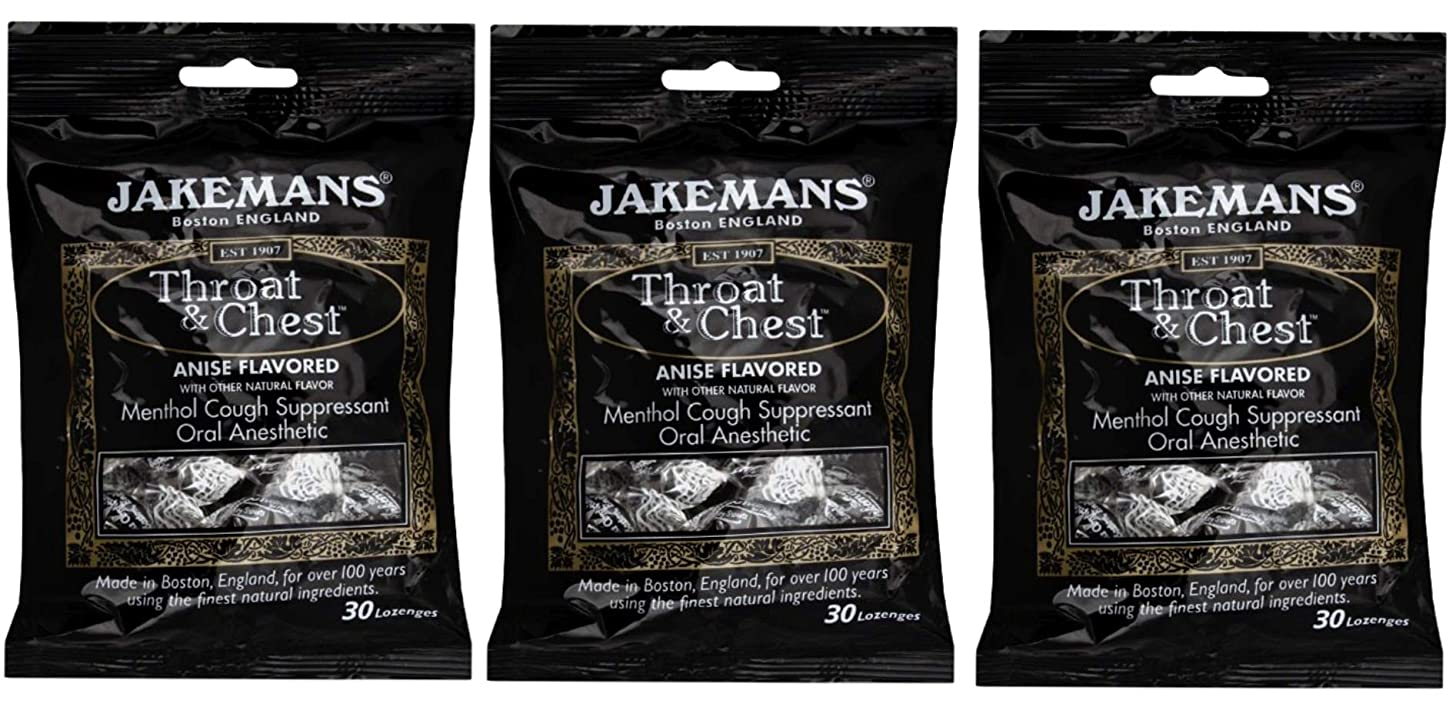Jakemans Throat and Chest Lozenges (3 Pack) Anise, Cough Suppressant Drops