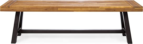 Christopher Knight Home 300496 Colonial Outdoor Sand Finish Acacia Wood Rustic Metal Bench Black