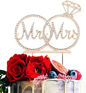 Mr & Mrs Cake Topper For Wedding Anniversary Rings Crystal Rhinestone Party Decoration (Gold)
