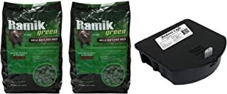 NEOGEN RODENTICIDE Ramik Mouse and Rat Nuggets Pouch, 4-Pound, Green (8 Pound w/Bait Station)