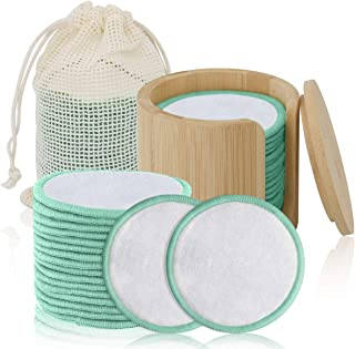 MISICH Reusable Bamboo Cotton Makeup Remover Pads,100% Organic reusable bamboo cotton rounds,16 Pack,Washable Laundry Bag,...