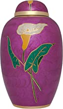 Purple Funeral Urn by Liliane Memorials - Cremation Urn for Human Ashes - Hand Made in Brass - Suitable for Cemetery Burial or Niche- Large Size fits remains of Adults up to 200 lbs- Cala Purple Model