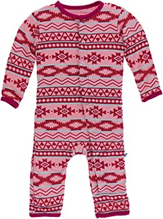 KicKee Pants Bamboo Print Coverall with Snaps (Strawberry Mayan Pattern - 12-18 Months)