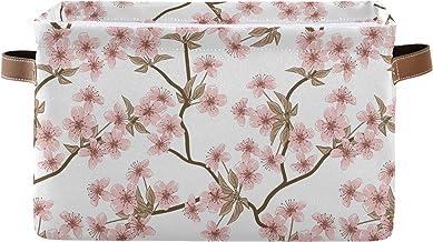 Mnsruu Duży składany kosz do przechowywania z uchwytami, różowe kwiaty wiśni gałęzie tkanina składane pojemniki do przecho...