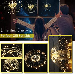2 pack 120 Led Starburst string Light,battery operated star pendant Christmas lights,Waterproof Long lasting Party Lamp,Dimmable Wedding Sparklers,Warm White fairy lights With Remote Control Timer