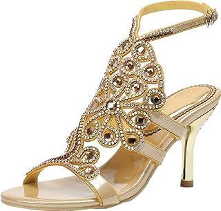 d68b233b20 Vimedea Womens Fashion Wedding Party Bridesmaid Office Rhinestone Heeled  Sandals L052