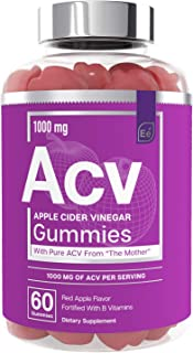 Apple Cider Vinegar Gummies from The Mother - All-Natural, Vegan ACV with Folic Acid and Vitamin B6 & B12 | by Essential E...