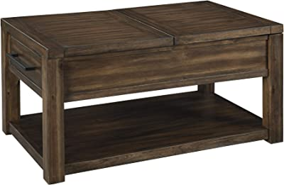 Benjara Rectangular Split and Lift Top Wooden Cocktail Table with Open Shelf, Brown