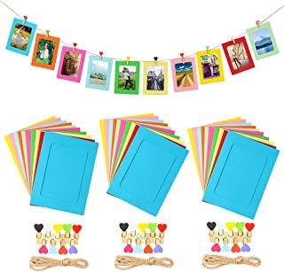 LEJHOME Paper Picture Frames, 30pcs Photo Frames for 4x6in Photo, Multi Color 30 Heart Clothespins Hanging Photo Display Frames with 3 Ropes for Home, School and Office Decoration