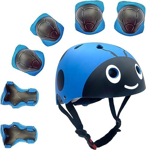 Lucky-M - Juego de 7 Almohadillas Protectoras para Deportes al Aire Libre para niños y niñas (Rodilleras, Coderas y m...
