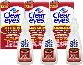 Clear Eyes | Maximum Redness Relief Eye Drops | 0.5 FL OZ | Pack of 3