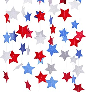 Blue Red Silver Paper Stars Garland for 4th of July Independence Day Backdrop Decorations, 6.6 ft x 2 Packs