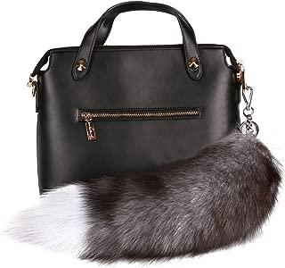 URSFUR Silver Blue Fox Tail Fur Keychain Bag Charm Pendant