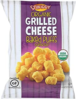 Snikiddy Snacks Organic Baked Puffs - Grilled Cheese - Case of 12-4 Oz