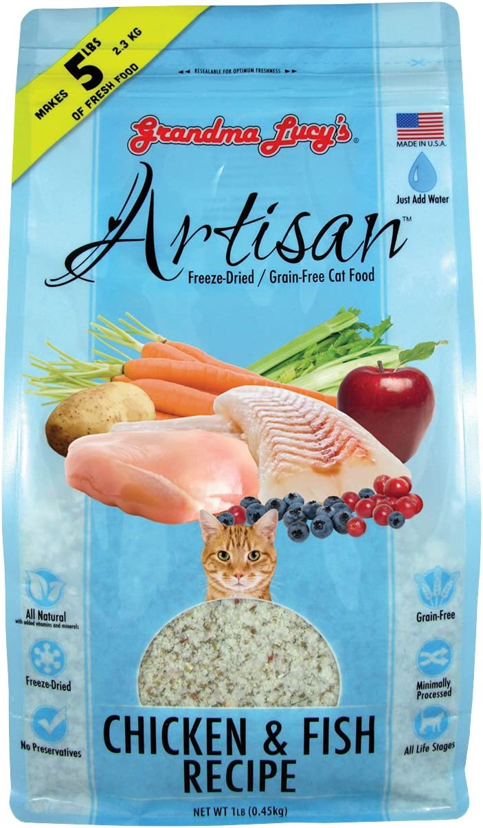 Grandma Lucy's Artisan Chicken and Fish Recipe Cat Food, Grain Free and Freeze-Dried - 1 Lb Bag