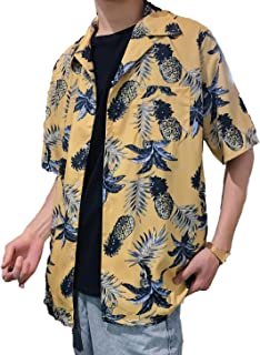 (TERA Dream) アロハシャツ パイナップル柄 メンズ 半袖 ハワイ風 プリントシャツ