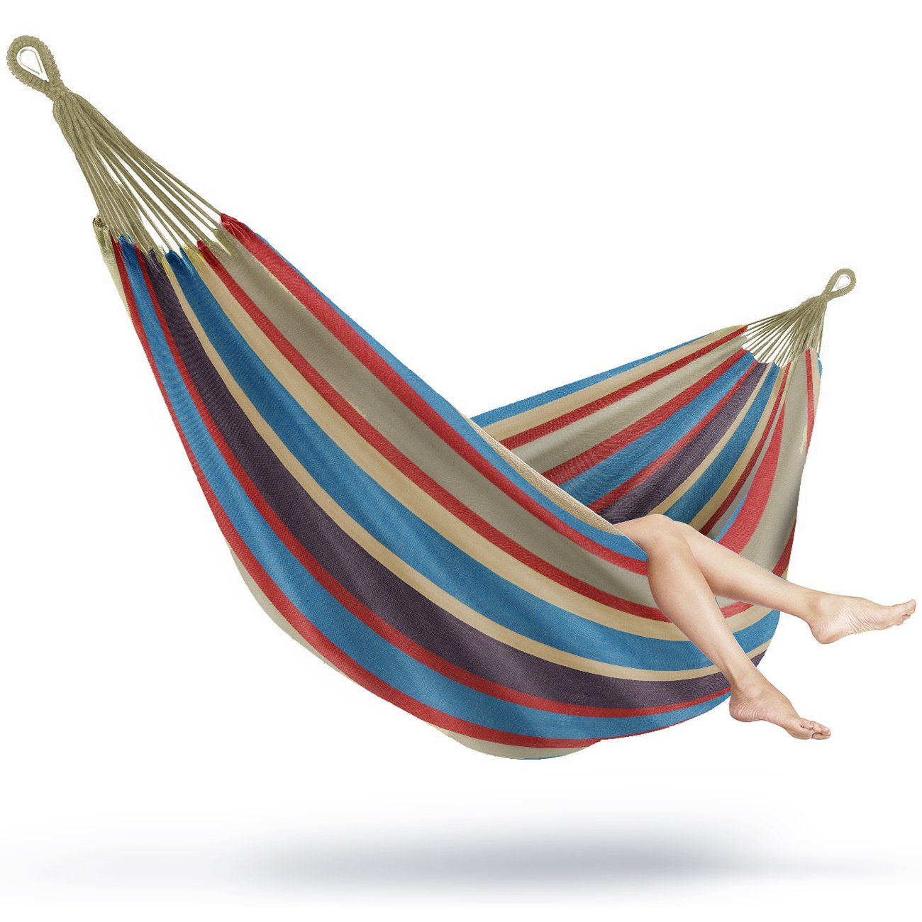 Sorbus Brazilian Double Extra Long Two Person Portable Hammock Be , Hanging  Rope, Carrying Pouch Included Blue/Sand/Purple/Red Stripes