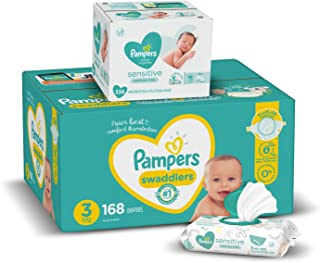 Sponsored Ad - Diapers Size 3, 168 Count and Baby Wipes - Pampers Swaddlers Disposable Baby Diapers and Water Baby Wipes S...