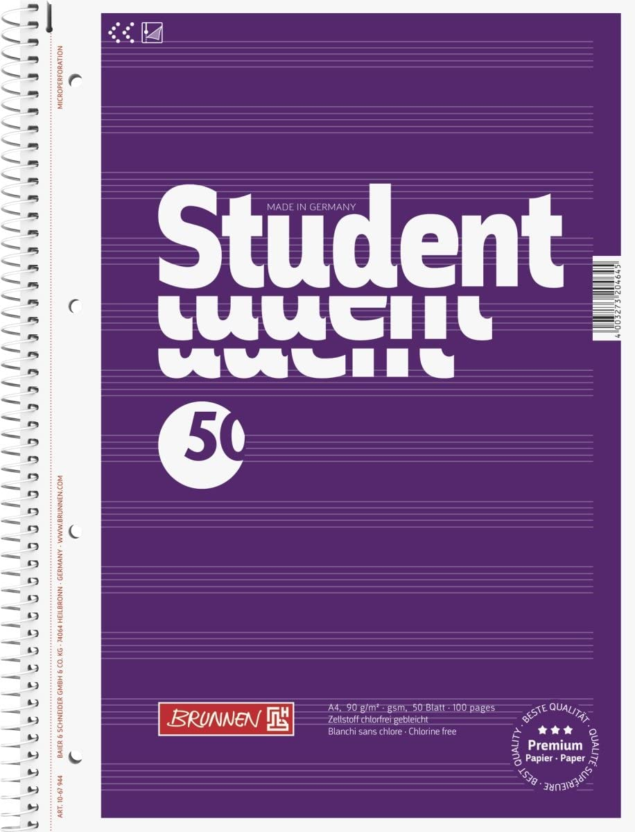 Brunnen College Bloc-notes /à spirale 4/x 90/g//G//M/² A4/pour partitions /Li 12/