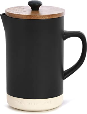 Made With Love Matte Black 32 ounce Ceramic Stoneware Coffee French Press