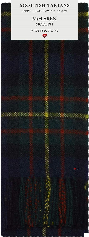 MacLaren Modern Tartan Plaid 100% Lambswool Scarf & Tie Gift Set
