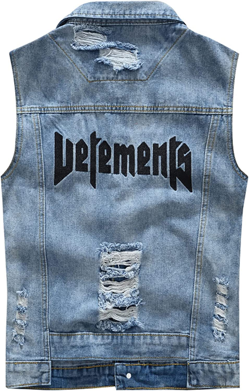 EverNight Men's Casual Sleeveless Cowboy Denim Vest Slim Fit Distressed Waistcoat Gilet Jacket Vest Top Outerwear