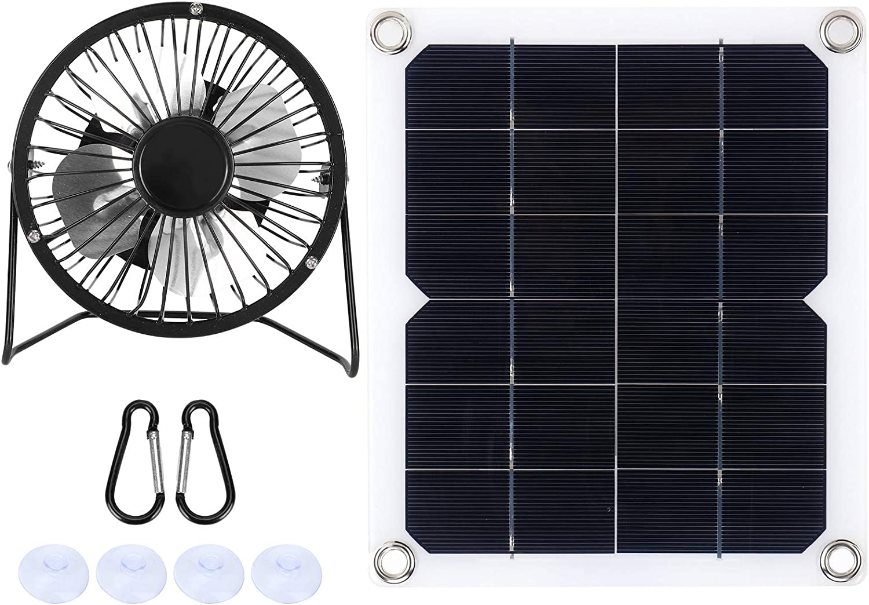 MOH Panel Solar - Panel Solar de 10W con Ventilador de enfriamiento Panel Solar fotovoltaico para casa de Perro Mascota