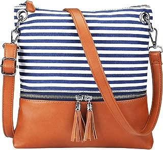 Women Lightweight Medium Canvas PU Leather Crossbody Bag with Tassel