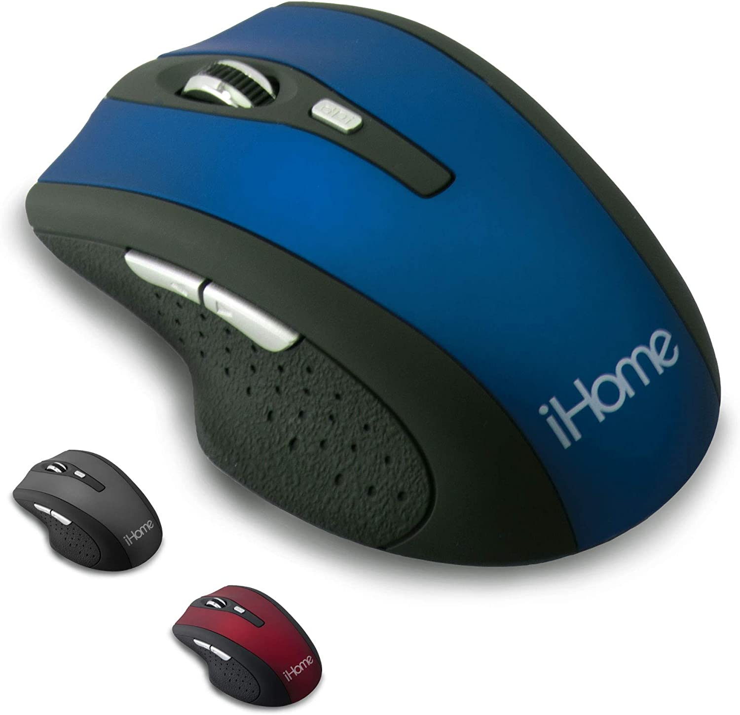 iHome Precision Wireless Desktop Mouse with Scroll Wheel, 2 Buttons, and Web Navigation (Mac and PC Compatible) (Blue)